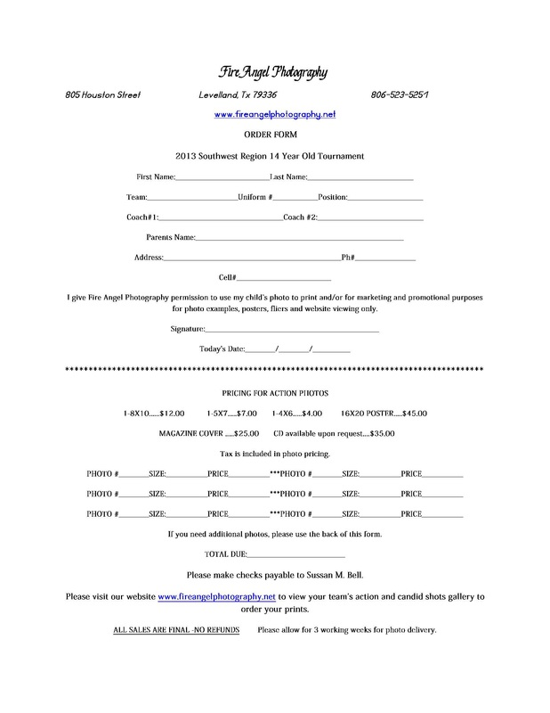 Tournament Photo Order Form - Fire Angel Photography